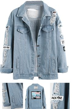 Light Blue Letter Patch Ripped Pockets Denim Coat Choies