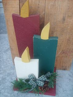 Wooden Christmas Candles