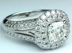 Cushion Diamond Vintage Halo Double Band Engagment Ring in 14K Whiate Gold