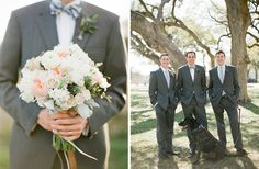 like the color of the flowers in the bouquet. like the suit colors