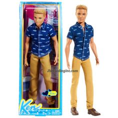 Mattel Year 2013 Barbie Fashionistas Series 12 Inch Doll - KEN (BFW10) in Blue Shirt & Brown Denim Pants with Brown Shoes