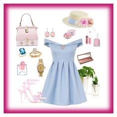 """Blue Dressc"" by mary-kay-de-jesus on Polyvore featuring Umbra, Chi Chi, Gucci, Cara, Monet, Dolce&Gabbana, Irene Neuwirth, Bloomingdale's, Annello and Rolex"