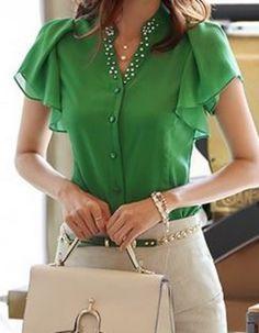 So Pretty! Love this Blouse! Emerald Green Plain Beading Flutter Sleeve V-neck Chiffon  Want!!!!