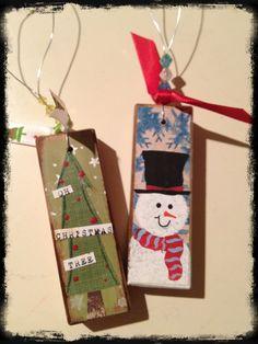 Mixed media Christmas ornament.