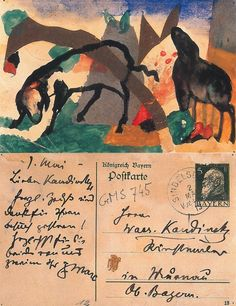 a postcard, Two Sheep, from painter Franz Marc to Wassily Kandinsky, 1 May from the book Franz Marc: The Complete Works, Volume II by Annegret Hoberg + Isabelle Jansen [via Decadentia Coprófaga] Franz Marc, Wassily Kandinsky, Illustrations, Illustration Art, George Grosz, Louise Nevelson, Envelope Art, Postcard Art, Artist Sketchbook