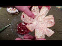 How to Cut Open a Pomegranate correct way Seeding Granatapfel richtig schneiden entkernen - YouTube