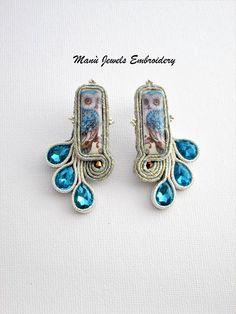 orecchini soutache blu, soutache, orecchini gufo, gioielli soutache, orecchini boho, orecchini colorati, orecchini etnici, orecchini lobo di ManuJewelsEmbroidery su Etsy