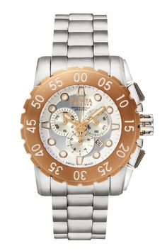 Invicta men's leviathan chronograph watch with rose gold-tone bezel