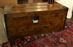 """Wonderful Old French Trunk   47"""" Wide x 19"""" Deep x 20.5"""" High   $795  Dealer #223  Lost. . .Antiques 1201 N. Riverfront Blvd. Dallas, TX 75207  Monday - Saturday: 10am - 5pm Sunday 11am -"""