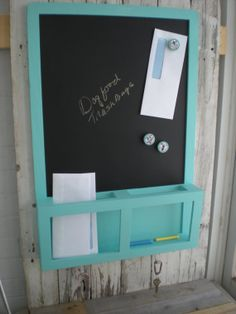 Ikea Key Holder re-did ikea luns chalkboard in icy blue, stain and stencil