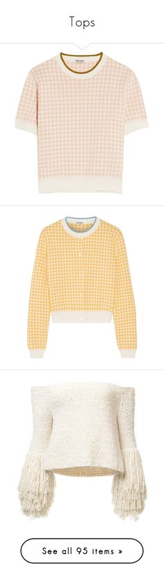 """Tops"" by meryfern ❤ liked on Polyvore featuring tops, sweaters, shirts, miu miu, blush, cotton shirts, woven cotton shirt, high waisted shirts, short sleeve cotton shirts and shirt top"