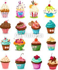 Vektor: Set of cupcake