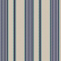 Navy & Coral Dotted Stripe Fabric | Chantilly Stripe : Midnight | Loom Decor