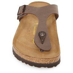 Birkenstock 'Gizeh' Birko-Flor Thong Sandal (£67) ❤ liked on Polyvore featuring shoes, sandals, suede shoes, suede thong sandals, toe thongs, birkenstock shoes and birkenstock footwear