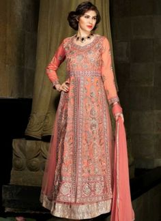 Precious Peach Embroidery Work Banarasi Silk Net Anarkali Suit http://www.angelnx.com/