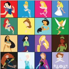 minimalist Princess line-up by Adrian Mentus | Snow White, Cinderella, Aurora, Alice, Ariel, Belle, Jasmine, Tinker Bell, Pocahontas, Mulan, Rapunzel, Tiana, Merida, Elsa, Anna, Sofia