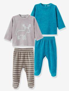 2er-Pack Baby-Pyjamas aus Samt TüRKIS BEDRUCKT+GRAU BEDRUCKT