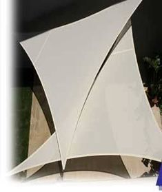 Triangular shade sail for patios, deck. #shadeofwhite
