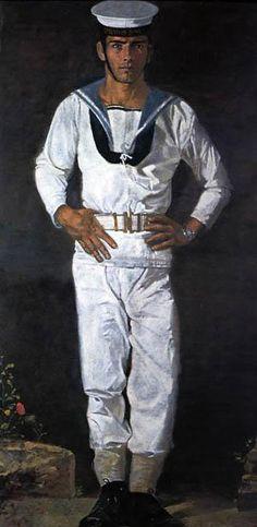 Yannis Tsarouchis (Greek painter - Sailor at the sun Homo, Classical Period, Greek Art, Bear Men, Male Figure, Gay Art, Royal Navy, New Artists, Painting & Drawing
