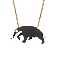 Badger Necklace (sale - Against The Grain 2018 Devine Design, Jewelry Art, Jewellery, Tatty Devine, Badger, Archive, Handmade Jewelry, Brooch, The Originals