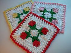 "Free pattern for ""Tulip Dishcloth"" from Whiskers & Wool! Thanks so xox"