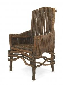 American Rustic Adirondack qtr Cent) slat twig design arm chair with an arch form high back and solid slat twig sides with a root stretcher. Old Hickory Furniture, Twig Furniture, Furniture Legs, Home Decor Furniture, Furniture Making, Cottage Furniture, Antique Furniture, Painted Furniture, Log Chairs