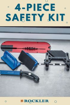 This safety kit includes a table featherboard, push stick and two push blocks featuring the same grippy rubber as our Bench Cookie® Work Grippers. Check out this product, as well as other new products, on our website today!  #createwithconfidence #rocklerinnovations #safety #safetykit #rockler