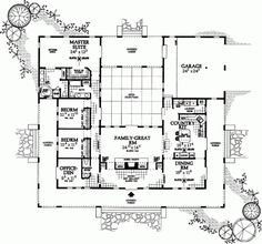 COOL house plans offers a unique variety of professionally designed home plans with floor plans by accredited home designers. Styles include country house plans, colonial, Victorian, European, and ranch. Blueprints for small to luxury home styles. U Shaped House Plans, U Shaped Houses, Home Design Plans, Plan Design, Design Ideas, Dream House Plans, House Floor Plans, Courtyard House Plans, Atrium House