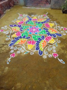Indian Rangoli Designs, Rangoli Designs Latest, Rangoli Designs With Dots, Beautiful Rangoli Designs, Free Hand Rangoli Design, Small Rangoli Design, Mandala Design, Rangoli Colours, Rangoli Patterns