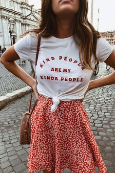Kind People Tee. Red skirt, summer style