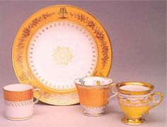 Jackie did not have the chance to finalize the order for White House state china service - here are the 1963 test samples from Sevres.  A sample of each presidents official china is housed in a special room in the White House.  It is displayed lovingly.