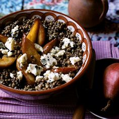 lentil, blue cheese and pear salad