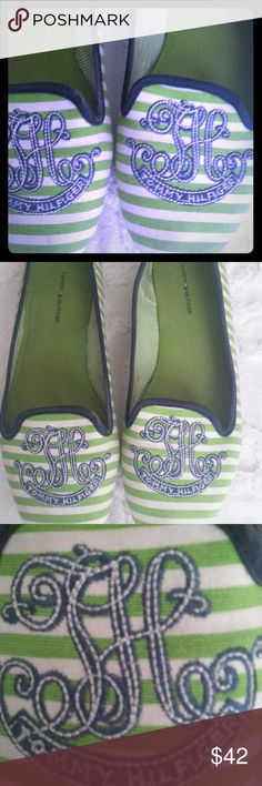 Tommy Hilfiger Monogram Loafers Lime Green & White Striped Women's Loafers with Tommy Hilfiger Monogram Logo. Shoes arr in very good condition.  The heels are not worn down.  No tears or rips.  Minor discoloration from normal wear. Tommy Hilfiger Shoes Flats & Loafers