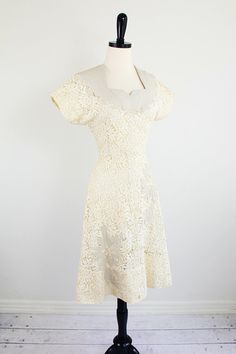 vintage 1940s dress white lace dress