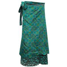 Mogul Wrap Skirts Teal Blue Reversible Vintage Silk Sari Long Skirt ($21) ❤ liked on Polyvore featuring skirts, vintage maxi skirt, reversible skirt, blue wrap skirt, blue skirt and maxi skirt