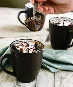 Chocolate Mug Brownies  4 tablespoons self rising flour    4 tablespoons white granulated sugar    1 egg    3 tablespoons cocoa powder    3 tablespoons milk    3 tablespoons olive or vegetable oil  Method    1. Combine all ingredients in a large coffee mug. Whisk well with a fork until smooth. Microwave on high for 1 1/2 – 3 minTop with whipped cream and a little chocolate sauce if desired