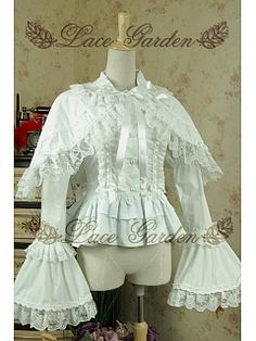 eecac402111a Lolita Vintage Princess Lace Shawl Trumpet Sleeves Flounce Blouse by Lace  Garden Retro Outfits