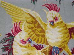 RARE Tropical Old World Florida Cockatoos Vintage Barkcloth Fabric Panel Tropical Fabric, Tropical Prints, Fabric Print Design, Paper Design, Conversational Prints, Retro Fabric, Vintage Florida, Cockatoo, Bird Design