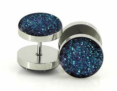 Blue Diamond Plugs Embedded Resin Domed Made to by GlitzGauge, $15.00
