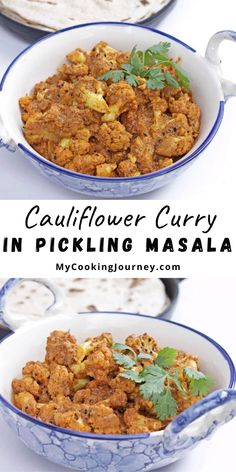 Achari Gobhi is a delicious curry made with cauliflower / Gobhi simmered in freshly ground spice mixture. Serve it with roti or Dal Chawal (Dal and rice) to make it a comforting meal. #masala #curry #cauliflowercurry #mycookinjourney @mycookinjourney | mycookingjourney.com Oven Roasted Cauliflower, Cauliflower Curry, Cauliflower Recipes, Veggie Recipes, Asian Recipes, Beef Recipes, Drink Recipes, Delicious Dinner Recipes, Delicious Food