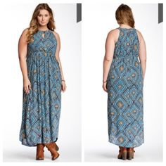 """Lucky Brand Goddess Print Keyhole Maxi Dress Cool shades of blue enhance the Grecian-inspired patterning of a flowing maxi dress designed with a cutaway bodice to bare sun-kissed shoulders and cinched with an elastic waist for figure-defining flattery. A flirtatious keyhole details the high front neckline. Shirttail hem. By Lucky Brand Dungarees; imported.  Details: - Crew neck - Sleeveless - Keyhole front detail - All over pattern - Drawstring waist - Approx. 55.5"""" length Lucky Brand…"""