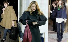Celebrities in cape coats (l to r Alexa Chung, Blake Lively, Natalie Portman)