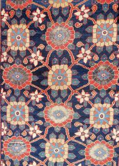 Large Persian Kurdish rug frag with rare shrub border > c. 1830-1850