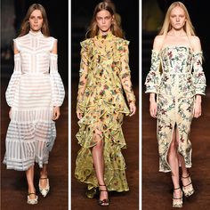 Erdem's sense of beautiful melancholy was pervasive... Floor-length, tiered, sweeping gowns took center stage, charging down a dirty runway covered in red brick... #love Read the full runway review on Editorialist.com Spring/Summer 2016
