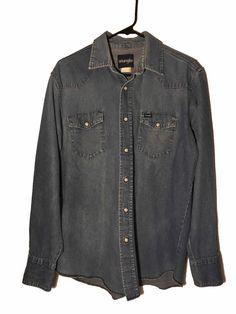 Wrangler Mens Blue Denim Shirt Western Pearl Snaps Vintage Long Sleeve Large #Wrangler #Western