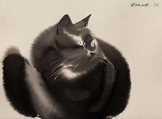 #ink #cat #blackcat #painting #art #penovac #penovacendre #endre #watercolor #saatchi #endrepenovac #WeeklyFluff