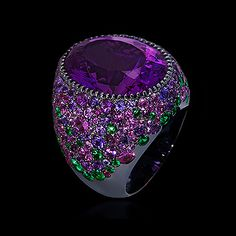 Mousson Atelier, collection Riviera, ring, Black gold 750, Amethyst 17,58 ct., Tsavorites, Multicolored sapphires