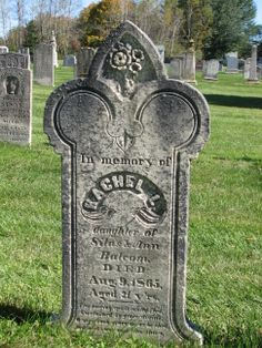 In memory of RACHEL L. daughter of Silas & Ann  Balcom. DIED Aug. 9, 1865, Aged 21 Y'rs.       The passing spirit gently fled. Sustained by grace divine. O may such grace on us be shed, and make our end like thine.
