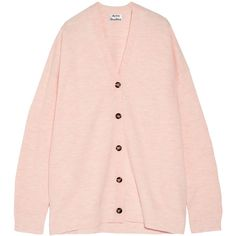 Acne Studios Mesi oversized boiled wool cardigan ($400) ❤ liked on Polyvore featuring tops, cardigans, pastel pink, long length tops, long oversized cardigan, boiled wool cardigan, long sleeve tops and long tops