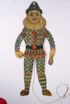 Rare VICTORIAN MECHANICAL TOY Pantin HARLEQUIN antique CLOWN 1910 jumping jack (01/29/2013)
